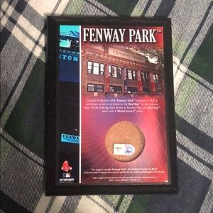 Fenway Park plaque with dirt from infield